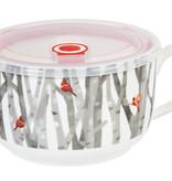 Fleurish Home White Woods Ceramic Bowl w Lid
