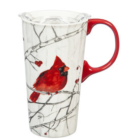 Fleurish Home Winter Cardinal Ceramic Travel Mug w Box