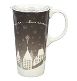 Fleurish Home Bl & Wh Christmas Ceramic Travel Mug w Box