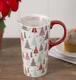Fleurish Home Whimsical Cmas Trees Ceramic Travel Mug w Box