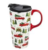 Fleurish Home Tree Farm Truck Ceramic Travel Mug w Box