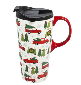 Fleurish Home Tree Farm Truck Ceramic Travel Mug w Box