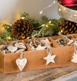 Fleurish Home White Wood Ornament: choice of star, tree or heart