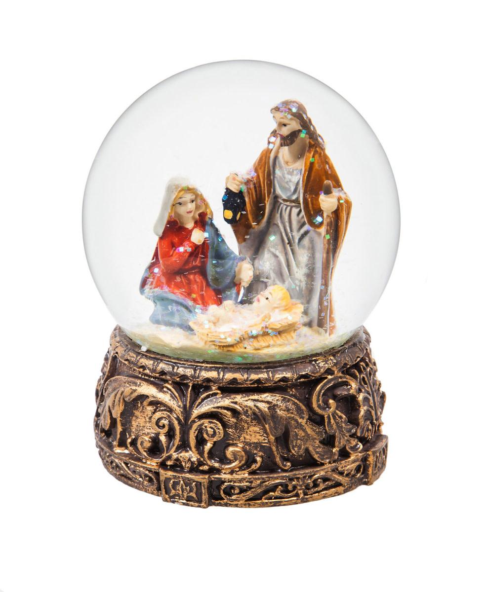 Fleurish Home Nativity Musical Snow Globe