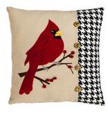 Fleurish Home Cardinal Houndstooth Pillow