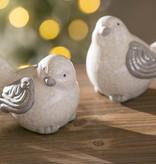 Fleurish Home White Ceramic Bird w Grey Wings (choice of 2 styles)