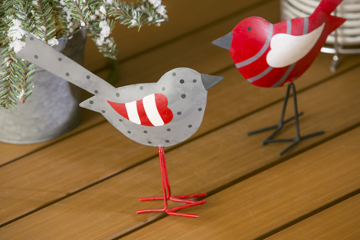 Fleurish Home Red & Grey Metal Hand Painted Bird (choice of 2 styles)