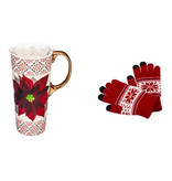 Fleurish Home Poinsettia Travel Mug w Texting Gloves Set