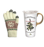 Fleurish Home Cold Hands Warm Heart Travel Mug w Texting Gloves Set