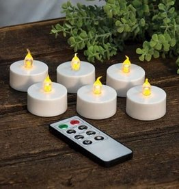 Fleurish Home Set of 6 Battery Tealight Candles w Remote