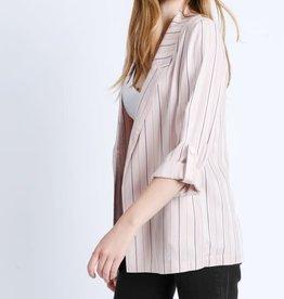 Fleurish Home Stripe Roll Up Sleeve Boyfriend Blazer Jacket