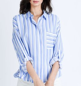 Fleurish Home Blue Striped Roll Up Sleeve Button Down Shirt Top