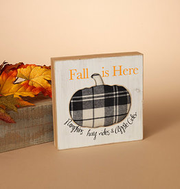 Fleurish Home Fall is Here Plaid Pumpkin on Wood