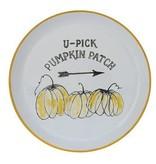 Fleurish Home U-Pick Pumpkin Patch Round Enamel Platter