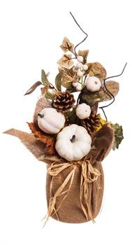 Fleurish Home White Pumpkin Fall Floral Table Decor