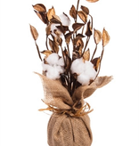 "Fleurish Home White Natural Cotton Table Decor 12"""