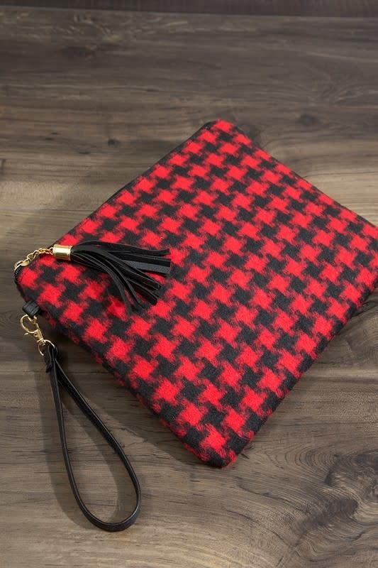 Fleurish Home Houndstooth Plaid Crossbody/ Clutch Bag