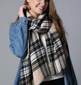 Fleurish Home Pleated Plaid Oblong Scarf