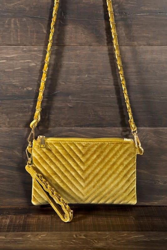 Fleurish Home Velvet Chevron Quilted Crossbody/ Clutch Bag