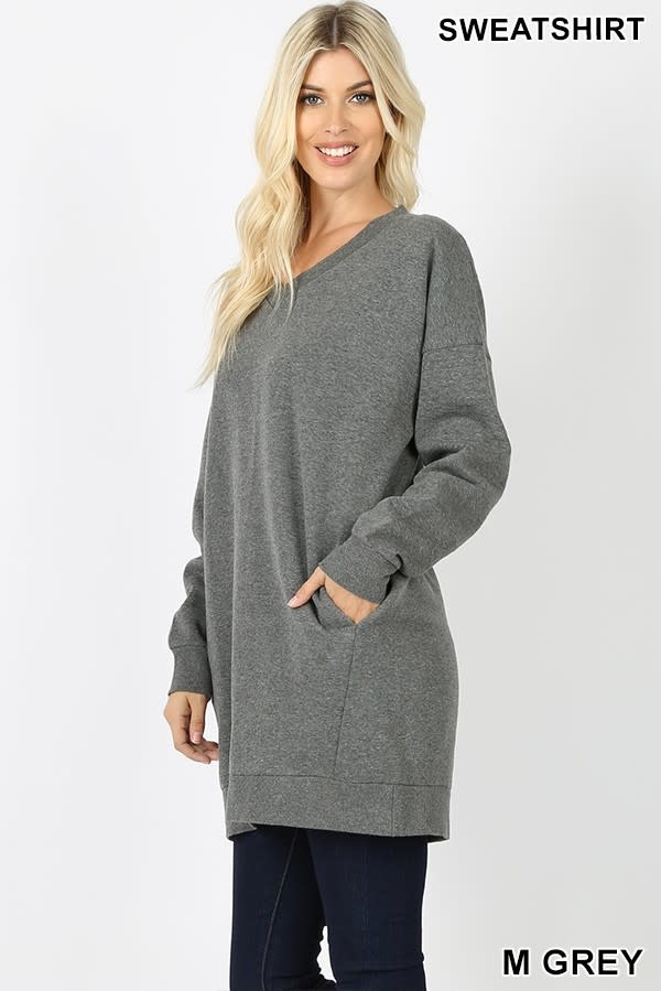 Fleurish Home Oversized Grey V-Neck Sweatshirt w Pockets