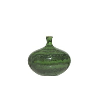 Fleurish Home Green Malachite FInish Stoneware Vase