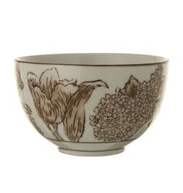 Fleurish Home Stoneware Brown Transferware Bowl