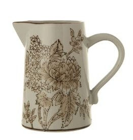 Fleurish Home 20 oz. Brown Stoneware Transferware Pitcher