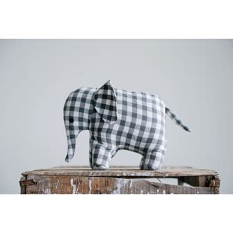 Fleurish Home Grey GIngham Cotton Elephant Doorstop