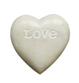 "Fleurish Home White Soapstone Heart w/Engraved ""Love"""
