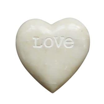 "Fleurish Home White Soapstone Heart w/Engraved ""Love"""