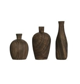 Fleurish Home Charred Paulownia Wood Vase Charred (Choice of 3 Styles)