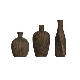 Fleurish Home Charred Paulownia Wood Vase Charred (Choice of 3 Styles)
