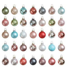 "Fleurish Home Various 1""Round Glass Ornaments"