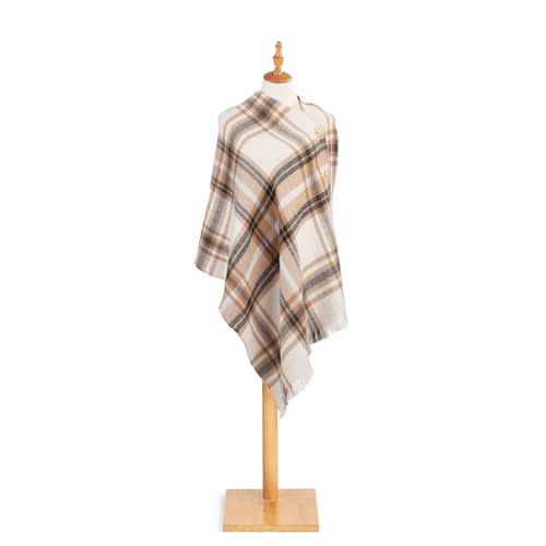 Fleurish Home Tan/White Reversible Button Poncho