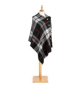 Fleurish Home Black/Red Reversible Button Poncho