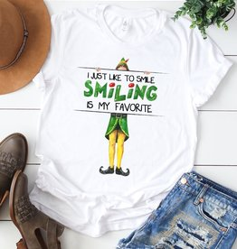 Fleurish Home Smiling is My Favorite ELF Graphic Tee
