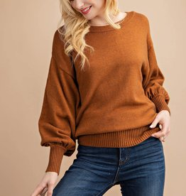 Fleurish Home CANYON BALLOON SLEEVE KNIT PULLOVER TOP