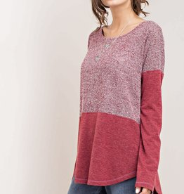 Fleurish Home Burgundy Mixed Knit Top