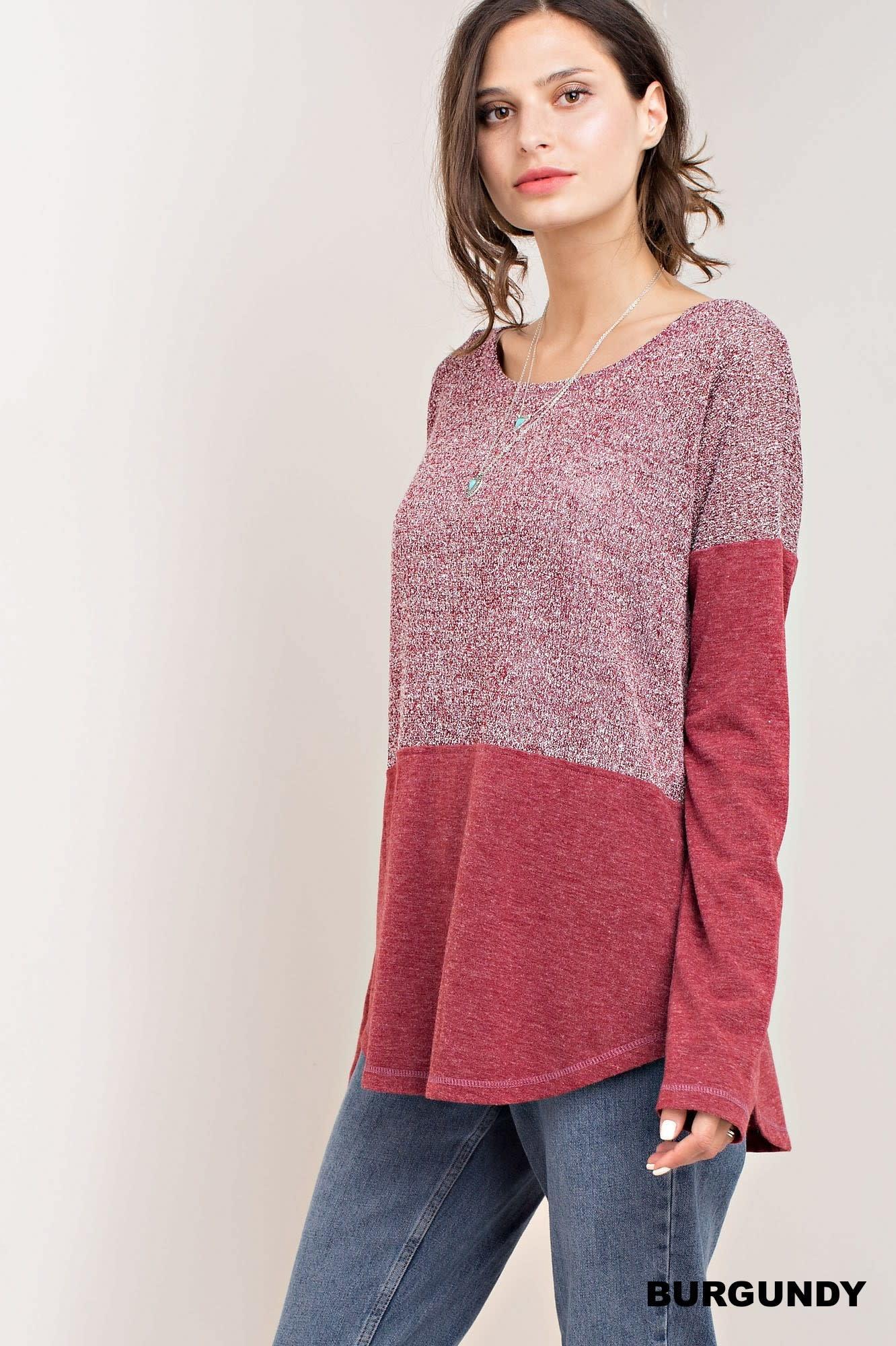 Fleurish Home Burgundy Mixed Knit Top