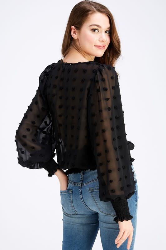 Fleurish Home Semi-Sheer Dotted Blouse