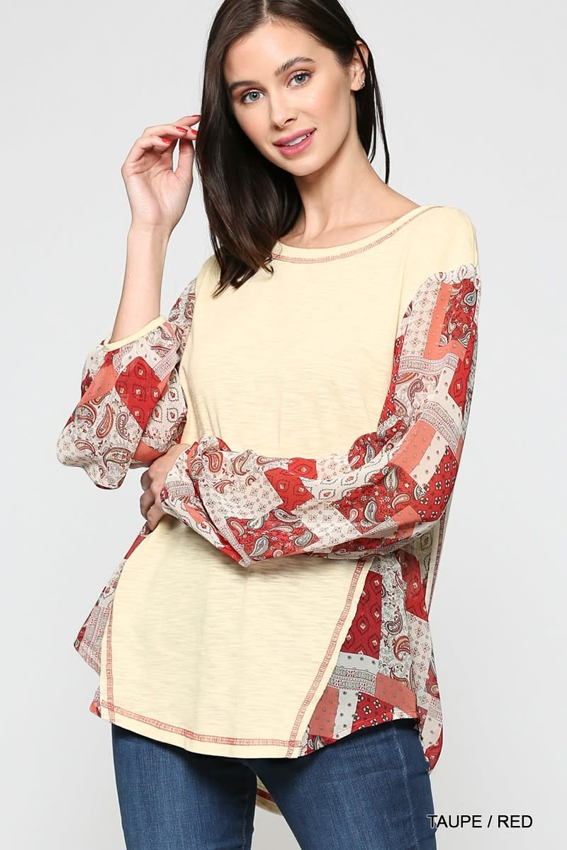 Fleurish Home Contrast Print Accented Knit Top