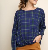 Fleurish Home Long Sleeve Plaid Print Gathered Top