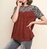 Fleurish Home Short Sleeve Multi-color Boucle Knit Keyhole Top