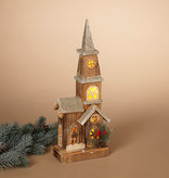 Fleurish Home Lighted Wood Church-Style House
