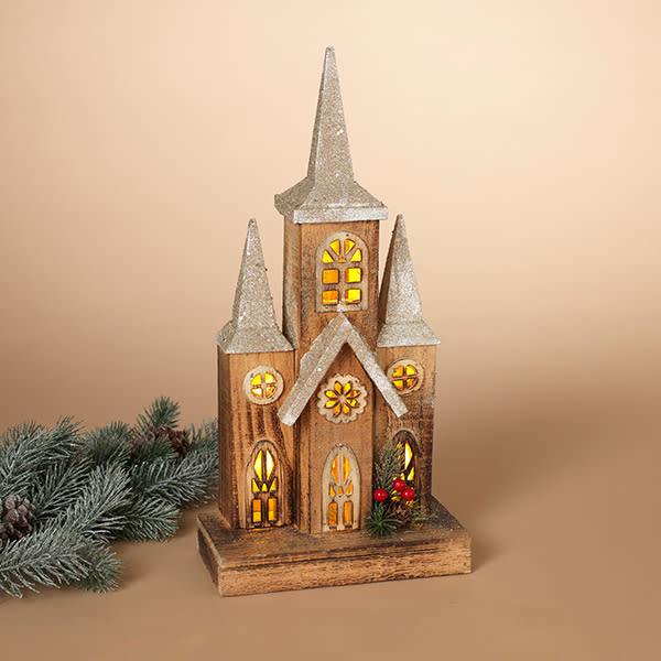 Fleurish Home Lighted Wood Holiday Steeple House