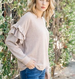 Fleurish Home Pale Mauve Ruffle Sleeve French Terry Pullover