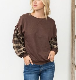 Fleurish Home Brown French Terry Top w Plaid Sleeves