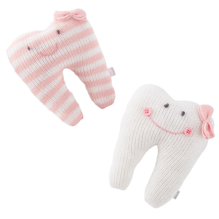 Mudpie SOLID IVORY TOOTH PILLOW (PINK SMILE)