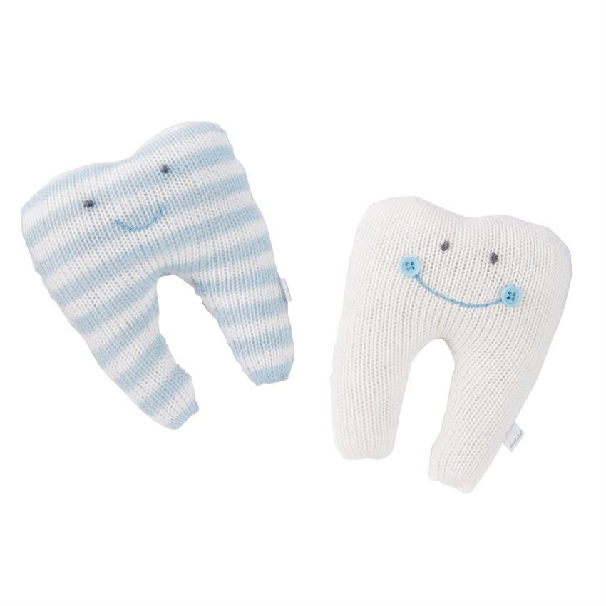 Mudpie SOLID IVORY TOOTH PILLOW (BLUE SMILE) *last chance
