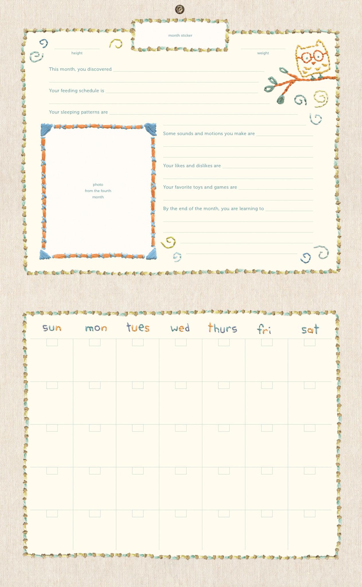 Fleurish Home Hello World First Year Keepsake Calendar